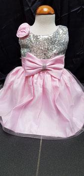 Feest jurkje in licht roze met grijze palletjes