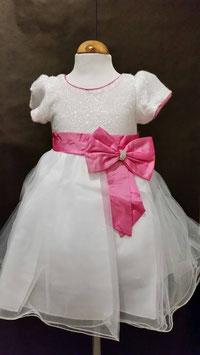witte feestjurk met roze strik