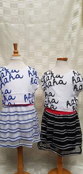 jurkje in wit/blauw of wit/zwart