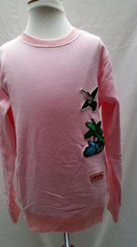 Roze longsleeve met kolibri maat 134/140