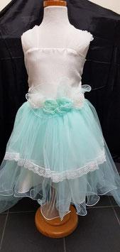 Feest jurk in gebroken wit met mintgroen