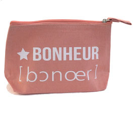 """Pochette à soufflet """"Bonheur"""" rose poudré"""