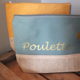 """Pochette à soufflet """"Poulette"""" bi-colore toile de jute"""