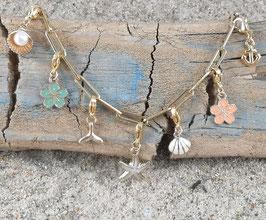 Bettel-Fußkette Gold - mit 3 Elementen