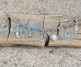 Bettel-Fußkette Silber - mit 3 Elementen