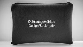 Utensilien-Tasche, Kunstleder glatt, mit hochwertiger Bestickung