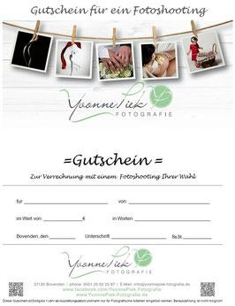 Geschenkgutschein für ein Fotoshooting