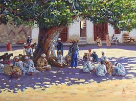 Goat traders in the shade, Nizwa, Oman