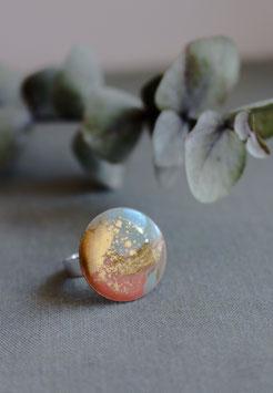 Bague GRANDE AQUARELLE - Nuances de Vert & Rose