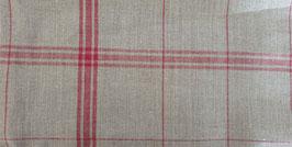 torchon lin naturel 12 fils au cm / carreaux ROUGE