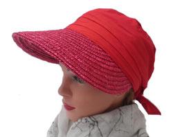 Damen Strohvisor/Tuch Cap Urlaub GartenCabrio Golf Strand Sonnenschutz Strohcap (60)