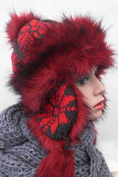 Damenmütze Tatramütze Bommelmütze Rot / Schwarz ( 8 )