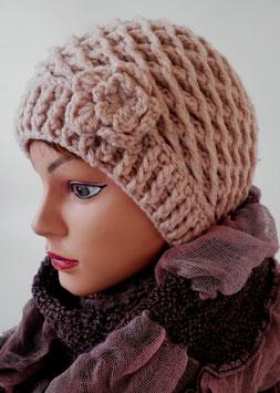 Damenmütze Strickmütze Pudelmütze mit Blume (26)
