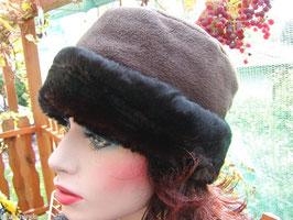 Damenmütze Fleecemütze mit Webpelz in 3 Farben Damenmützen Strickmützen Damenhut( 48 )