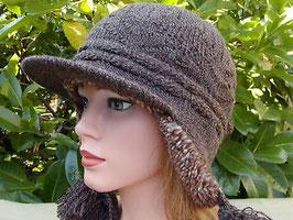 Damenmütze Strickmütze im Norweger-Style in Braun Mütze Wintermütze warm ( 35 )