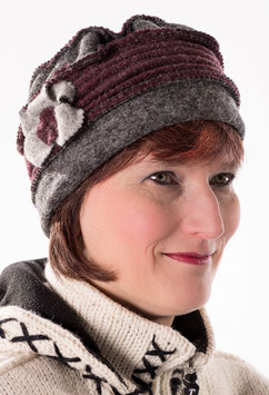 Damenmütze in Anthrazit/Weinrot hats-trends ( 5 )