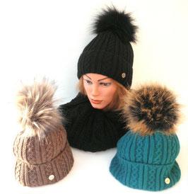 Damen Mütze Strickmütze Bommelmütze Kunstfellbommel gefüttert, in 5 Farben zur Auswahl. ( 53 )