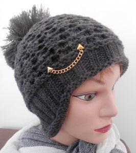 Damenmütze Strickmütze Bommelmütze mit Goldkettchen (31)