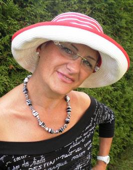 Damenhut Kofferhut Reisehut Rot/Weiß Elegant Damenhüte Strohhüte Anlasshüte (29)