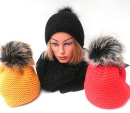 Damen Mütze Strickmütze Bommelmütze Kunstfellbommel gefüttert, in 9 Farben zur Auswahl. ( 55 )