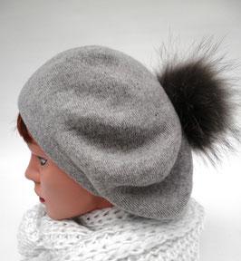 Damenmütze Slouch Baskenmütze mit Kaschmir Echtfellbommel Strickmützen Damenhüte (14)