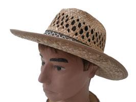 Herrenhut preiswerter Strohhut Texashut Naturstroh rundum geschwungene Krempe. ( 52 )