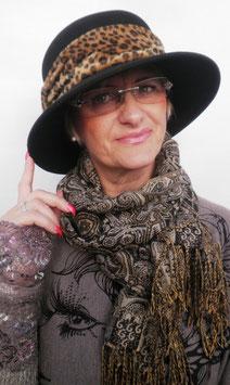 Damenhut elegant in Schwarz / Leo Damenhüte Anlasshüte Damenmützen Wollhüte( 15 )