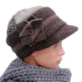 Damenmütze warme Schirmmütze Farbauswahl Stoffmix Damenmützen Strickmützen Hüte (21)