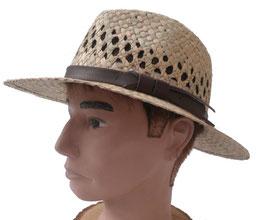 Herrenhut klassisch Strohhut Naturstroh mit gerader Krempe Herrenhüte Strohhüte. ( 50 )