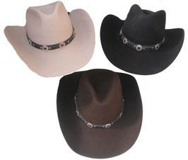 Western Hut Cowboyhut  Filzhut, in 4 Farben zur Auswahl  ( 14 )