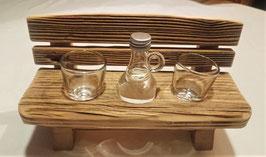Schnapsbankerl Altholz inkl. 2 Stamperl und 1 Flascherl Obstler