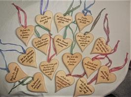 Zirben Herzen - Sprüche von Hand gefertigt