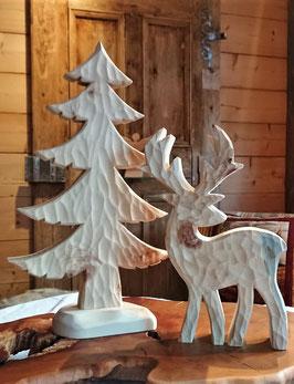 Im Set.... Zirbenbaum 440 mm hoch, inkl. Hirsch aus Zirbe, 300 mm hoch