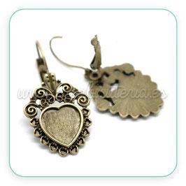 Bases pendientes vintage corazón Clip bronce viejo