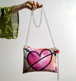 Clutch aus Samt peace&Love pink