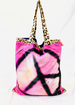 Tote Bag Samt Peace & Love_pink