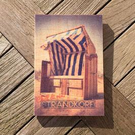 Post Woodkaart - Strandkorb Blau