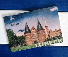 Post Woodkaart - Lübeck Holstentor