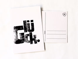"""Postkarte """"glück"""" (weiß)"""