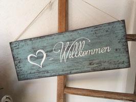 Willkommen Schilder in verschiedenen Grössen, Farben und Schriftarten
