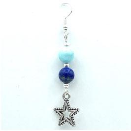 Boucles d'oreilles Lapis-lazuli, Turquoise et pendentifs Etoiles