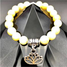 """Lotus"" Bracelet Jade Jaune"