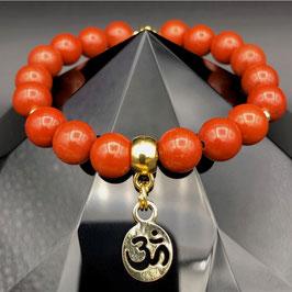 """""""Om"""" Bracelet Jaspe Rouge"""