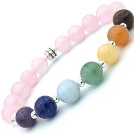 Bracelet 7 Chakras et Quartz Rose