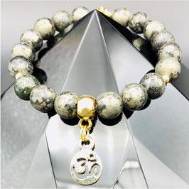 """Om"" Bracelet Pyrite"