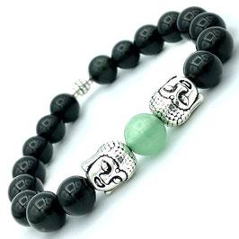 """Anâhata"" Bracelet Obsidienne et Aventurine Verte"