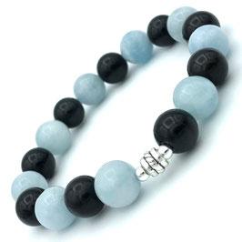 Bracelet  Aigue Marine et Obsidienne