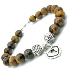 Bracelet en Œil de Tigre et charm Cœur cadenas