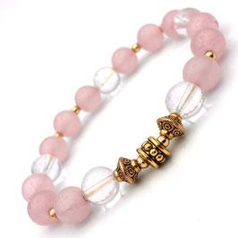 Bracelet Quartz Rose et Cristal de Roche O