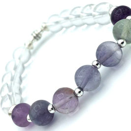 Bracelet Fluorite et Cristal de Roche